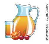 orange juice and cherry | Shutterstock .eps vector #1288108297