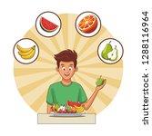 man healthy food | Shutterstock .eps vector #1288116964