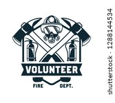 firefighter logo  emblems and... | Shutterstock .eps vector #1288144534