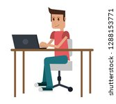 student with computer | Shutterstock .eps vector #1288153771