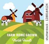 farm fresh organic foods.... | Shutterstock .eps vector #1288164124
