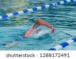man swimming in a pool with... | Shutterstock . vector #1288172491