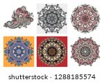 set of circle lace ornament ... | Shutterstock . vector #1288185574