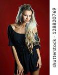 beautiful sexy blond woman... | Shutterstock . vector #128820769
