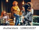 band practice in home studio....   Shutterstock . vector #1288210237