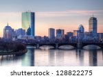 Stock photo boston winter sunset 128822275