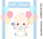 baby shower card  baby boy and...   Shutterstock .eps vector #1288223731