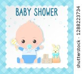 baby shower card  baby boy and...   Shutterstock .eps vector #1288223734