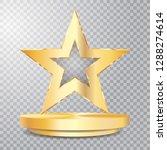 Golden Star On Golden Podium ...