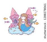 mermaid with castle undersea... | Shutterstock .eps vector #1288278061