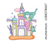 mermaid with castle undersea...   Shutterstock .eps vector #1288278067