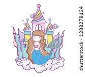 mermaid with castle undersea... | Shutterstock .eps vector #1288278124