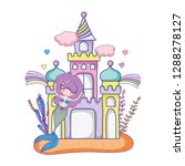 mermaid with castle undersea...   Shutterstock .eps vector #1288278127