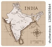 vintage map of india. hand... | Shutterstock .eps vector #1288285864