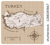 Vintage Map Of Turkey. Hand...