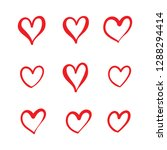 red love doodle icon set | Shutterstock .eps vector #1288294414