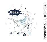 roaring dino hand drawn summer... | Shutterstock .eps vector #1288318657