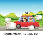 Illustration Of The Red Car An...