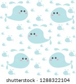 cute whale hand drawing vector... | Shutterstock .eps vector #1288322104