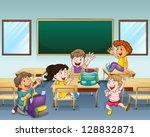 illustration of happy students... | Shutterstock .eps vector #128832871
