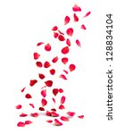 Stock photo falling rose petals 128834104