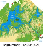 panama canal physical map | Shutterstock .eps vector #1288348021