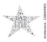 dad super hero doodle quote in... | Shutterstock .eps vector #1288349851