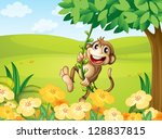 illustration of a monkey... | Shutterstock . vector #128837815