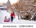 happy family of father and kids ... | Shutterstock . vector #1288410844