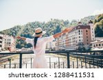 back view of woman in hat on...   Shutterstock . vector #1288411531