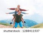 beautiful happy family in... | Shutterstock . vector #1288411537