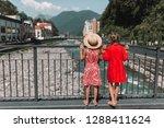 little girls on the embankment...   Shutterstock . vector #1288411624