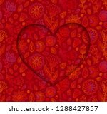 heart shape vector frame on... | Shutterstock .eps vector #1288427857