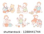 toddlers playing with their own ... | Shutterstock . vector #1288441744