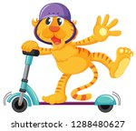 tiger playing kick scooter...   Shutterstock .eps vector #1288480627