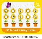 write missing number worksheet...   Shutterstock .eps vector #1288480657
