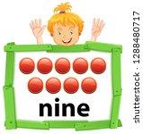 girl counting number nine...   Shutterstock .eps vector #1288480717