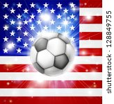 Flag of USA soccer background with pyrotechnic or light burst and soccer football ball in the centre - stock photo