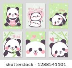 Fall in love with cute shubby panda full of little heart in soft pastel color. Set of rectangle gift tag, card, postcard. Lovely happy day. Vector illustration.