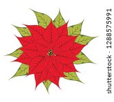 bright red poinsettia or... | Shutterstock .eps vector #1288575991