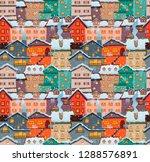 seamless christmas city pattern.... | Shutterstock .eps vector #1288576891