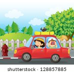 illustration of a boy and a... | Shutterstock . vector #128857885