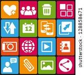 set of 16 web and social media... | Shutterstock .eps vector #128858671