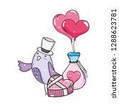 cute little bird with balloons... | Shutterstock .eps vector #1288623781
