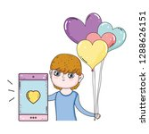 young cute lover boy with... | Shutterstock .eps vector #1288626151