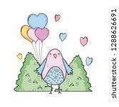 cute little bird with balloons... | Shutterstock .eps vector #1288626691