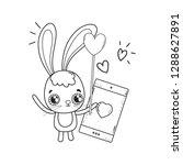 cute rabbit with balloons... | Shutterstock .eps vector #1288627891