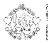 cute rabbits couple with... | Shutterstock .eps vector #1288627921
