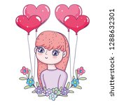 young cute girl lover with... | Shutterstock .eps vector #1288632301