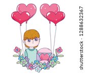young cute lover boy with... | Shutterstock .eps vector #1288632367